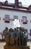 Ratsbrunnen Fountain an Town Hall in Linz am Rhein Stock Photography