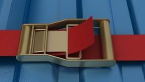 Ratschenbügel, der blauen Behälter sichert Lizenzfreie Stockfotos