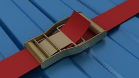 Ratschenbügel, der blauen Behälter sichert Lizenzfreie Stockbilder