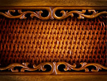 Rattan Background. Vintage Carved Rattan Wooden Background Royalty Free Stock Image