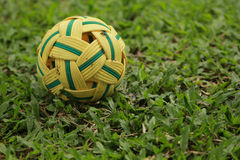 Rattan ball on the grassland. The rattan ball is on the wet grassland Stock Image