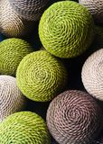 Rattan balls. Up close look at natural rattan balls royalty free stock images