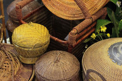 Rattan or bamboo handicraft hand made from natural straw traditional basket container from Indonesia Asia Royalty Free Stock Images