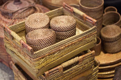 Rattan or bamboo handicraft hand made from natural straw traditional basket container from Indonesia Asia Stock Image
