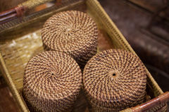Rattan or bamboo handicraft hand made from natural straw traditional basket container from Indonesia Asia Royalty Free Stock Image