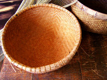 Rattan Basket And Fishing Net Royalty Free Stock Photos