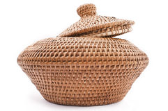 Rattan Basket with Lid. Woven Rattan storage to stoge foods or goods Royalty Free Stock Photo
