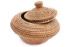Rattan Basket with Lid. Woven Rattan storage to stoge foods or goods Stock Photography