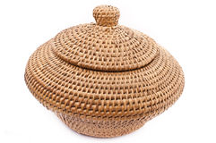 Rattan Basket with Lid. Woven Rattan storage to stoge foods or goods Royalty Free Stock Image