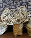 Rattan basket for long-handled fruit-picker Stock Image