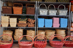 Rattan Basket Trays Shop Royalty Free Stock Photography