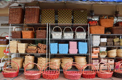 Rattan Basket Trays Shop. At outdoor of Arab Street, Singapore Royalty Free Stock Image