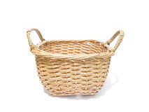 Basket on white. Rattan basket on white background stock photography