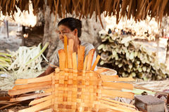 Rattan baskets in Myanmar Stock Images