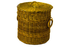The rattan bin on isolated white Royalty Free Stock Photos