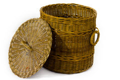 The rattan bin on isolated white Stock Photo