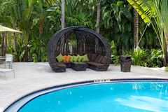 Rattan Cabana by Pool Royalty Free Stock Photography