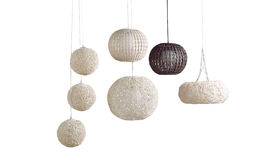 The rattan ceiling lamps. Beautiful modern design of rattan ceiling lamps royalty free stock image