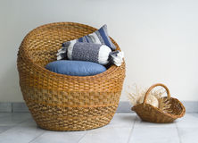 Rattan Chair. Round rattan or wicker chair made from water hyacinth Stock Image