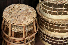 Rattan chair. Wicker wooden background. Rattan woven top view closeup. Rattan chair interlace of natural material. Ecologic craft. Golden basketry furniture Royalty Free Stock Photo