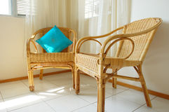 Rattan Chairs. In a living hall Royalty Free Stock Photos