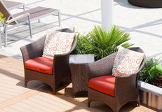Rattan Chairs on Ships Deck Stock Photos