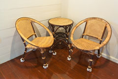 Rattan chairs and table Stock Images