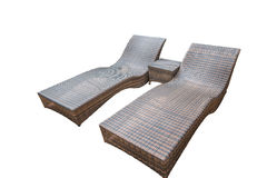Rattan chaise lounge isolated on white background. With clipping path stock image
