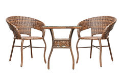 Rattan coffee table set Royalty Free Stock Image
