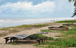 Rattan couch chairs in front of the sea Royalty Free Stock Photography