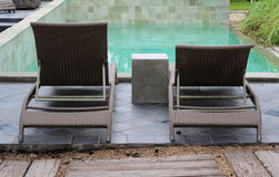 Rattan deck chairs Royalty Free Stock Image