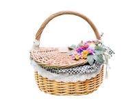 Rattan flower basket isolated white Stock Image