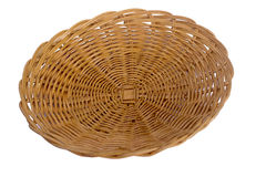 Rattan fruit plate. Food and fruit plate made from knitting rattan on white backgronud Stock Photos
