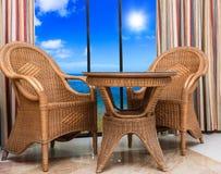 Rattan furniture interior room Stock Photos