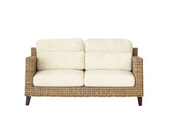 Rattan furniture sofa isolated on white Royalty Free Stock Photography