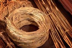 Rattan, materiais usados para fazer a cesta ou a mobília foto de stock royalty free