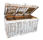 Rattan open blue linen chest Stock Images