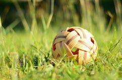 Rattan piłka w ogródzie Zdjęcia Royalty Free