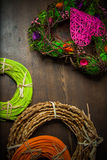 Rattan rolls. Eco background with rattan rolls Stock Image