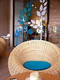 Rattan seat. At cafe to relax on Stock Photo