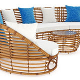 Rattan sofa end coffee table an close view. 3D Royalty Free Stock Photo