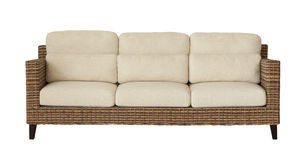 Rattan sofa isolated on white Royalty Free Stock Photography