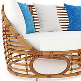 Rattan sofa with pillows zoomed view. 3D graphic Stock Images