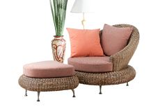 Rattan sofa and stool Royalty Free Stock Photography
