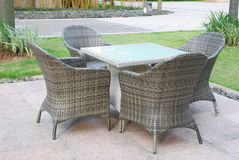 Rattan sofa and table set Stock Images