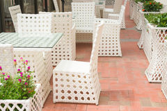 Rattan sofa and table sets Stock Photos