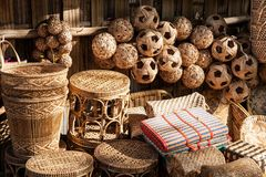 Rattan souvenirs, Burma Royalty Free Stock Photo