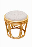 Rattan stool on a white background Royalty Free Stock Image