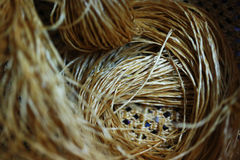 Rattan strips for make baskets, woven from willow twigs. typically made from interwoven strips of cane or wire. Baskets woven from willow twigs. typically made Royalty Free Stock Image