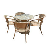 Rattan table and chair Stock Photo